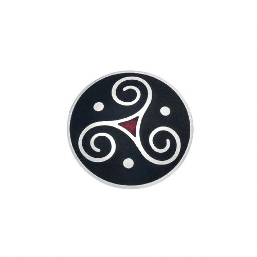 Celtic Triskele Brooch Silver Plated Red Brand New Gift Packaging